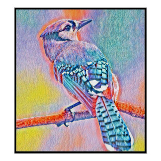 Stylized Blue Jay Series - Number 25 Poster