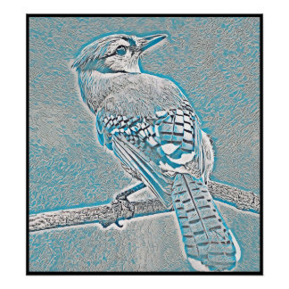 Stylized Blue Jay Series - Number 26 Poster