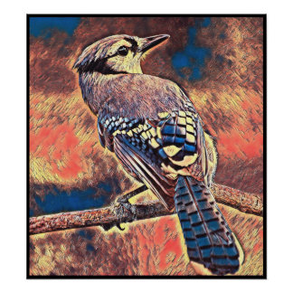Stylized Blue Jay Series - Number 27 Poster