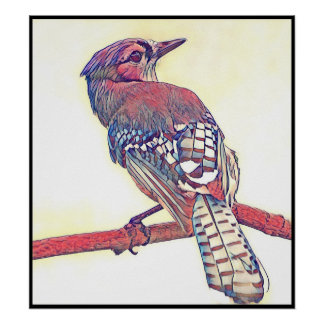 Stylized Blue Jay Series - Number 28 Poster