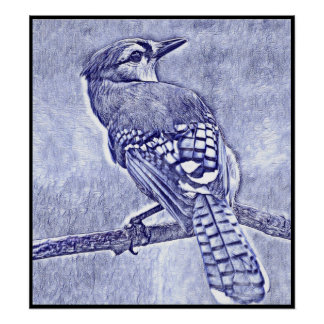 Stylized Blue Jay Series - Number 29 Poster