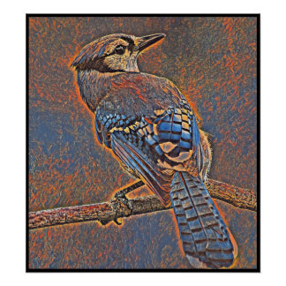 Stylized Blue Jay Series - Number 32 Poster