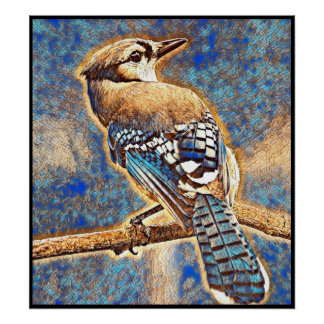Stylized Blue Jay Series - Number 36 Poster