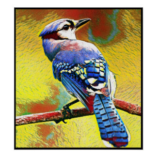 Stylized Blue Jay Series - Number 37 Poster