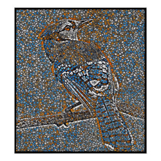 Stylized Blue Jay Series - Number 40 Poster