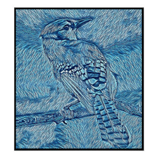 Stylized Blue Jay Series - Number 42 Poster