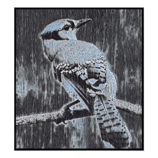 Stylized Blue Jay Series - Number 4 Poster