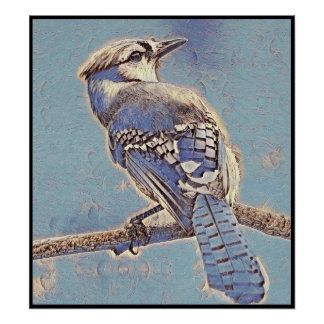 Stylized Blue Jay Series - Number 5 Poster