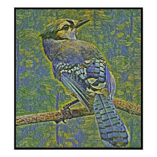 Stylized Blue Jay Series - Number 6 Poster