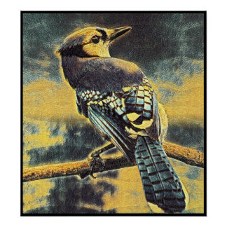 Stylized Blue Jay Series - Number 7 Poster