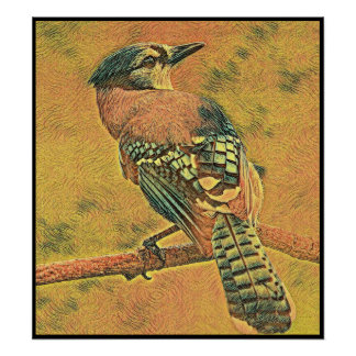 Stylized Blue Jay Series - Number 8 Poster