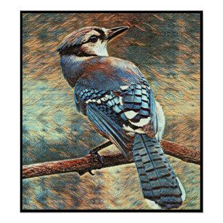 Stylized Blue Jay Series - Number 9 Poster