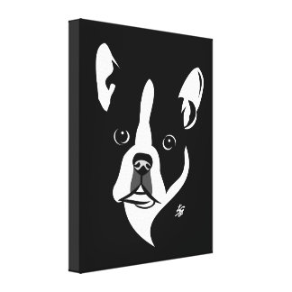 Stylized Boston Terrier Canvas Prints