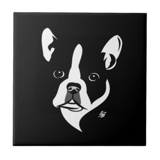 Stylized Boston Terrier Portrait Art Tile