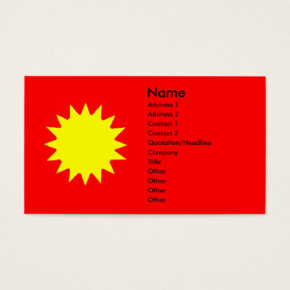 Stylized Bright Blazing Yellow Sun Red Background Business Card