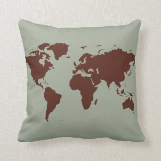 stylized brown world map throw pillow