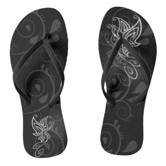 Stylized Butterfly at the Beach Flip Flops