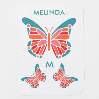 Stylized Butterfly custom monogram & name blanket
