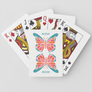 Stylized Butterfly custom monogram playing cards