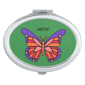 Stylized Butterfly custom monogram pocket mirrors
