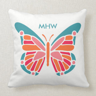 Stylized Butterfly custom monogram throw pillows