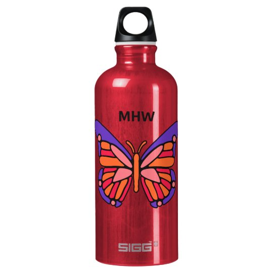 Stylized Butterfly custom monogram travel bottle