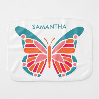 Stylized Butterfly custom name burp cloth