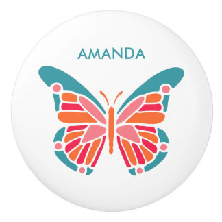 Stylized Butterfly custom name ceramic knob