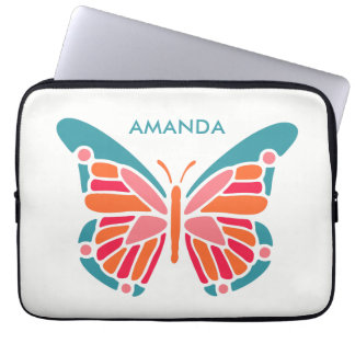 Stylized Butterfly custom name laptop sleeves