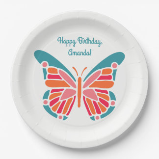 Stylized Butterfly custom text paper plates