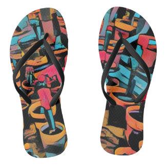 Stylized Cactus Funky Flip Flops