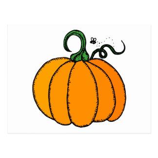 Stylized Cartoon Pumpkin with Fly Buzzing Nearby Postcard