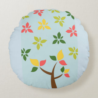 Stylized colorful tree and flowers round pillow