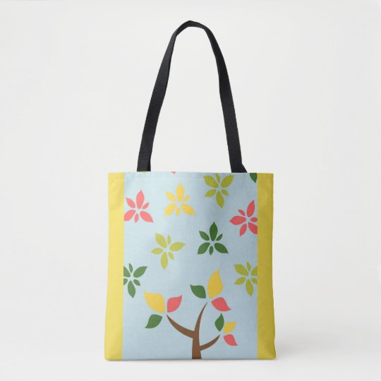 Stylized colourful tree and flowers tote bag