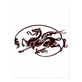 Stylized Dark Dragon with Long Tail and Tongue Postcard
