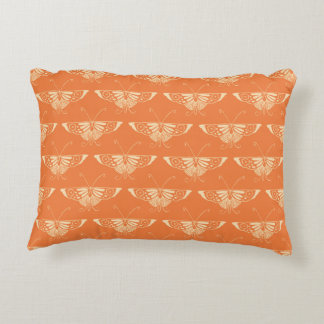 Stylized Deco butterfly  - coral orange Accent Pillow