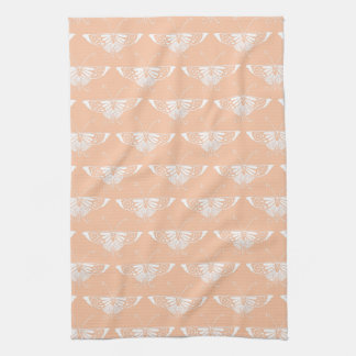 Stylized Deco butterfly  - soft peach Kitchen Towel