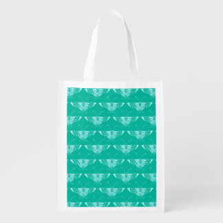 Stylized Deco butterfly  - turquoise and aqua Reusable Grocery Bag