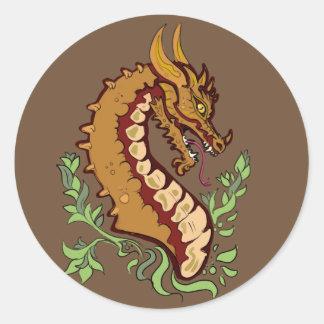 Stylized Dragon Classic Round Sticker