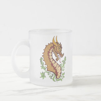 Stylized Dragon Frosted Glass Coffee Mug