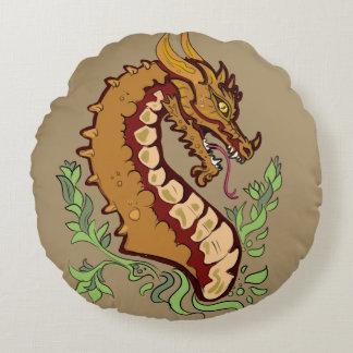 Stylized Dragon Round Pillow