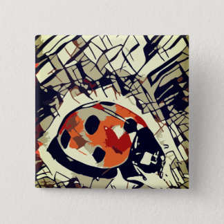 Stylized drawing of a Red Ladybug 2 Inch Square Button