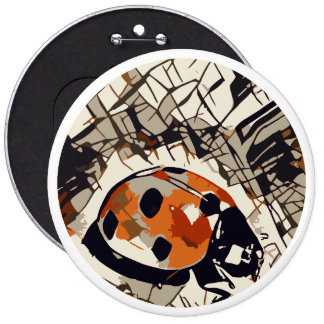 Stylized drawing of a Red Ladybug 6 Inch Round Button