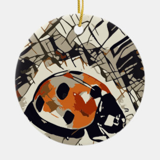 Stylized drawing of a Red Ladybug Round Ceramic Ornament