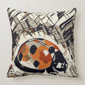 Stylized drawing of a Red Ladybug Throw Pillow
