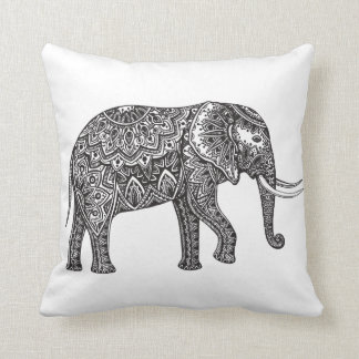 Stylized Fantasy Elephant Doodle Throw Pillow