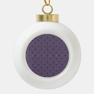 Stylized Floral Check Ceramic Ball Ornament