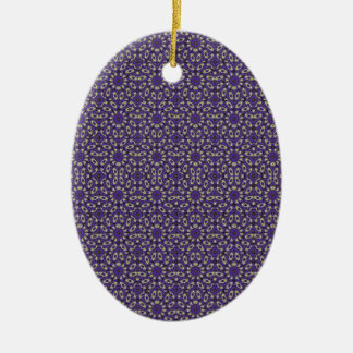 Stylized Floral Check Ceramic Oval Ornament