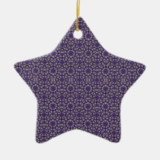Stylized Floral Check Ceramic Star Ornament