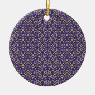 Stylized Floral Check Round Ceramic Ornament